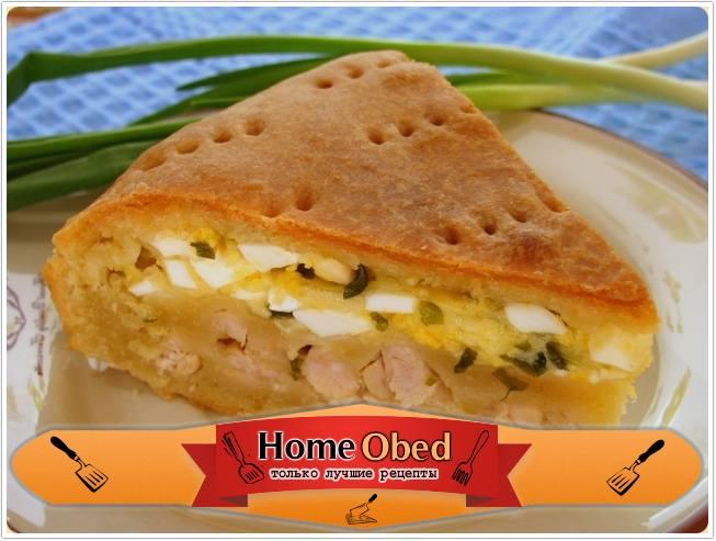 Пирог с мясом, яйцами и сыром
